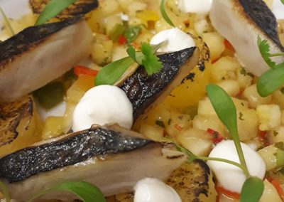 Blow torched mackerel with natural yogurt, pineapple, chilli and mint consommé