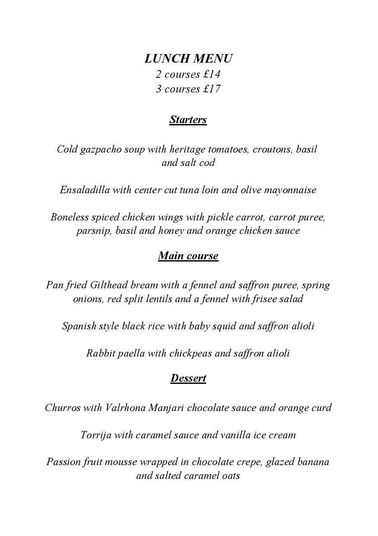 Tierra & Mar Restaurant, Cirencester - Lunch Menu