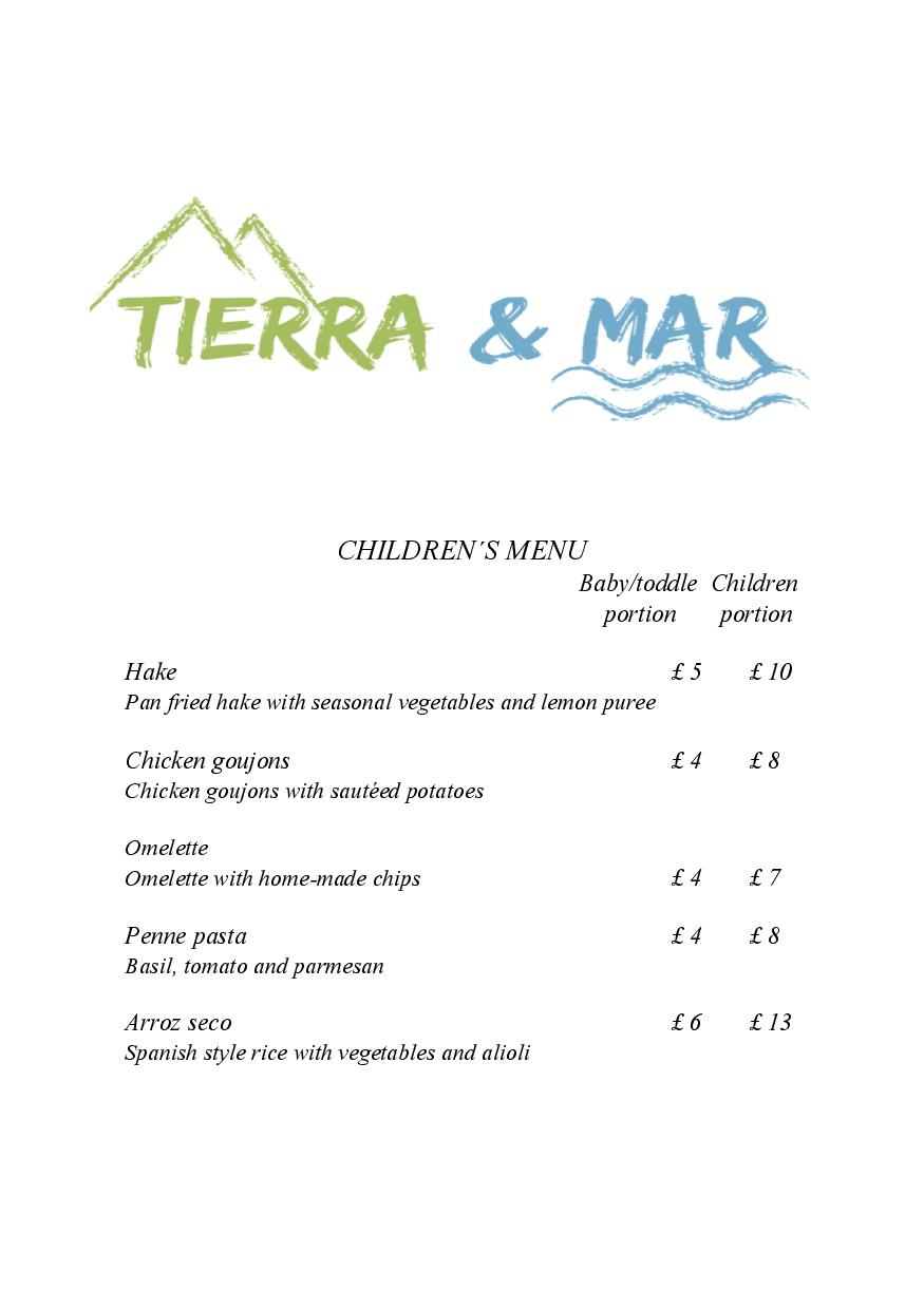Tierra & Mar Restaurant, Cirencester - Children's Menu