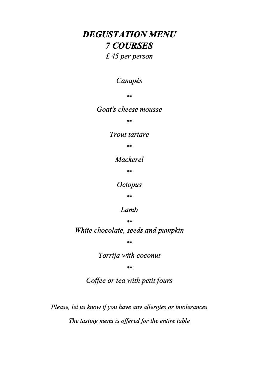 Tierra & Mar Restaurant, Cirencester - Degustation Menu