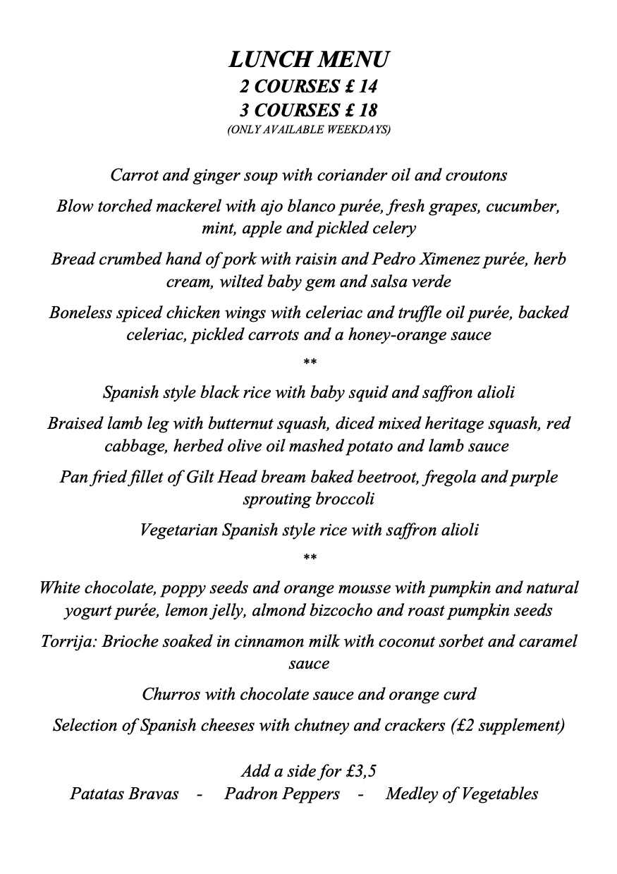 Tierra & Mar Restaurant, Cirencester - Lunch Menu
