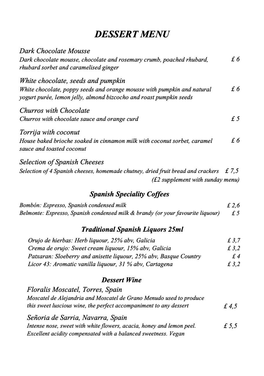 Tierra & Mar Restaurant, Cirencester - Postres