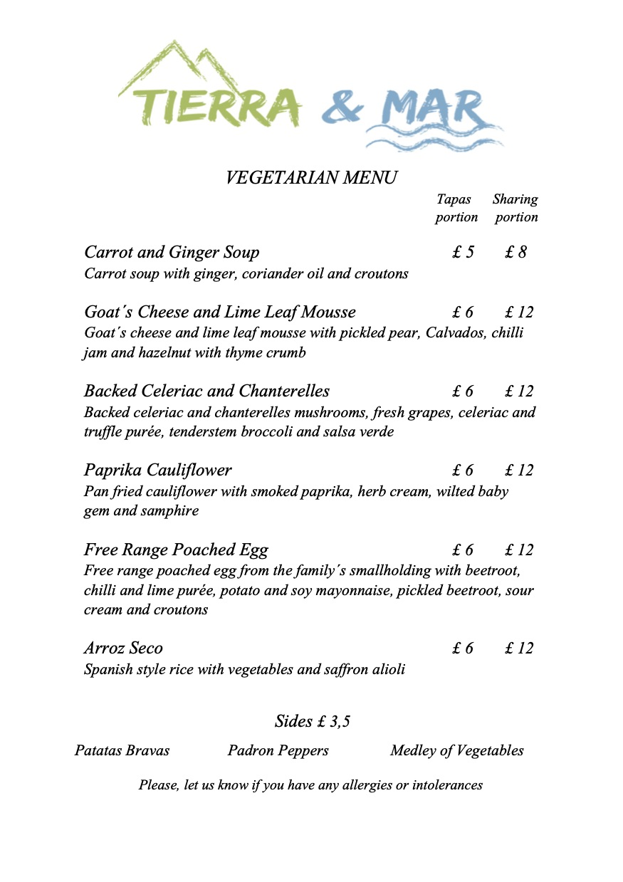 Tierra & Mar Restaurant, Cirencester - Vegetarian Menu